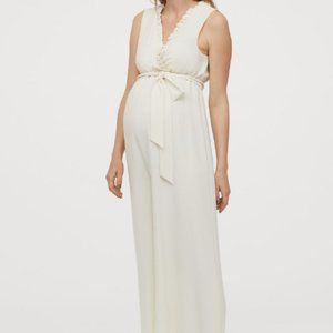 H&M MAMA Creped Jumpsuit in Creme